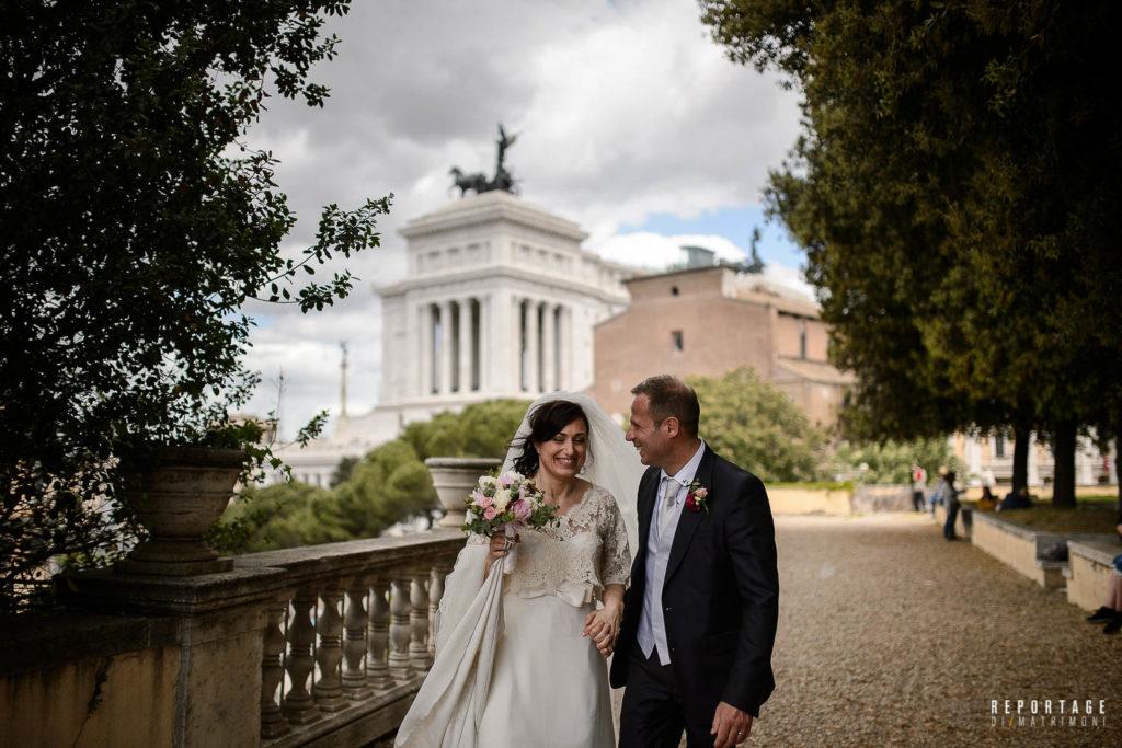 Sposi arrivo Terrazza Caffarellii
