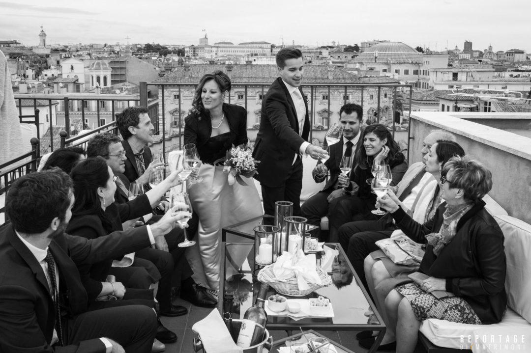 Roof garden a Roma per un matrimonio con vista sulla Città Eterna